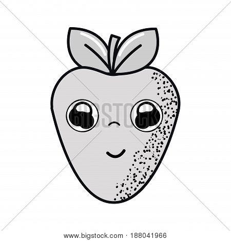 hand drawn kawaii nice happy strawberry icon, vector illustration