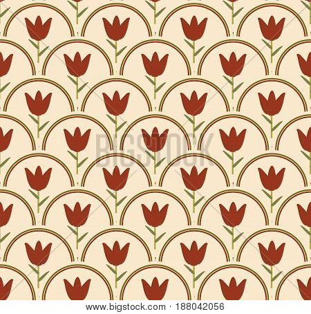 Seamless background with tulip floral patterns in circle in nostalgic soft colors