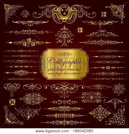 Calligraphic design elements and page decoration in gold