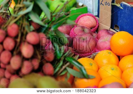 closeup of fresh fruits selling at market