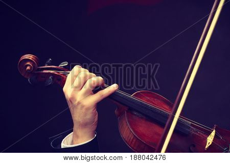 Music passion hobby concept. Close up young man man dressed elegantly playing on wooden violin. Studio shot on dark background