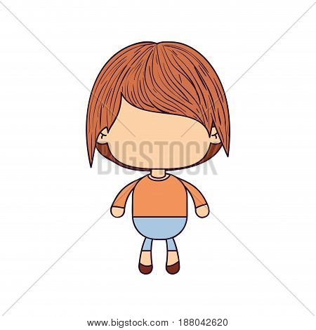 colorful caricature of faceless little boy with short wavy hair vector illustration