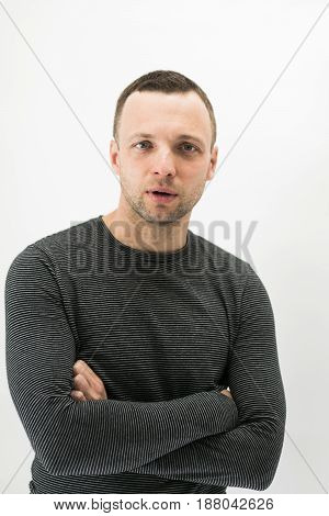 Talking Young European Man Over White Wall
