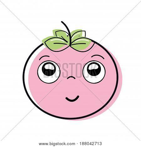kawaii nice happy tomato vegetable, vector illustration