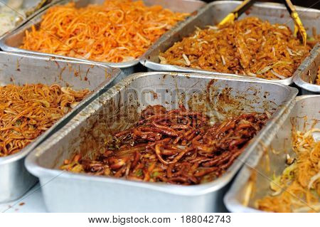 closeup of chinese chow mein  in fast food restaurant