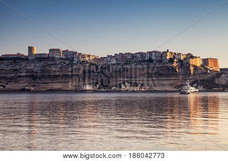 Old Town On Rocky Coast Of Bonifacio. Corsica