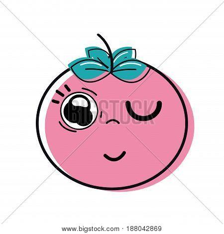 kawaii nice funny tomato vegetable, vector illustration