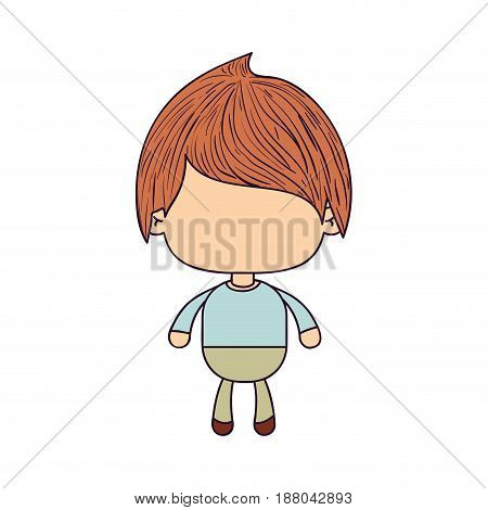 colorful caricature of faceless little boy with straight hair vector illustration