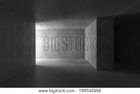 Abstract Dark Empty Concrete Interior