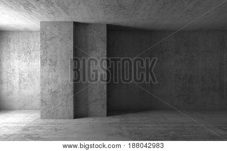 Empty Concrete Room. 3D Illustration