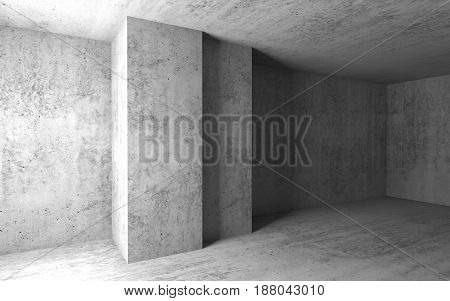 Empty Concrete Room With Columns. 3D