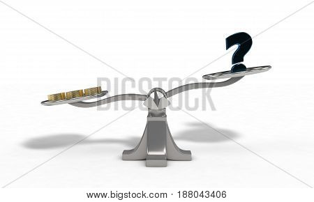 Weights With Money Coin And Question Mark Concept, 3D Render