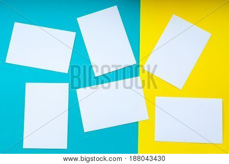 forms white to yellow and blue background bright colours empty space for text