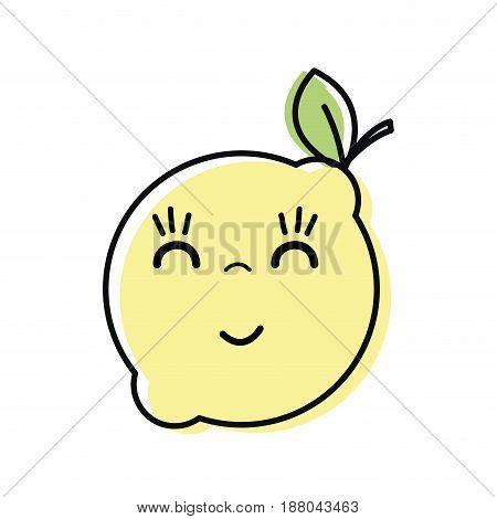 kawaii nice happy lemon fruit, vector illustration