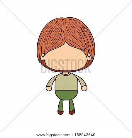 colorful caricature of faceless little boy with hairstyle vector illustration