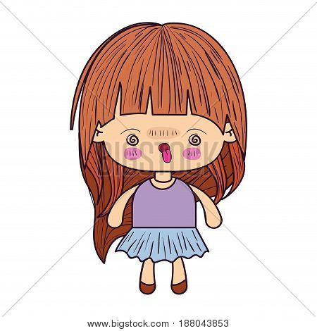 colorful caricature little girl with wavy long hair and facial expression of madness vector illustration