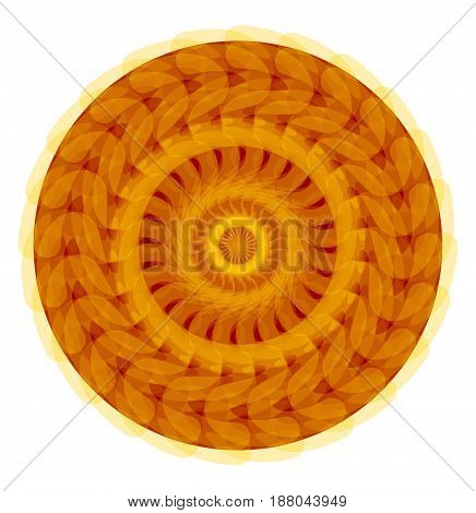 Gold symmetric geometric circle mandala for harmony obtaining