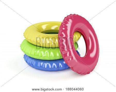 Group of swim rings with different colors on white background, 3D illustration