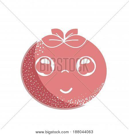 silhouette kawaii nice happy tomato vegetable, vector illustration