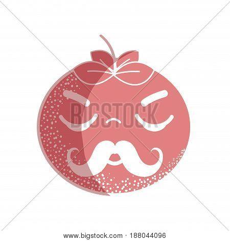 silhouette hand drawn kawaii nice sleeping tomato vegetable, vector illustration
