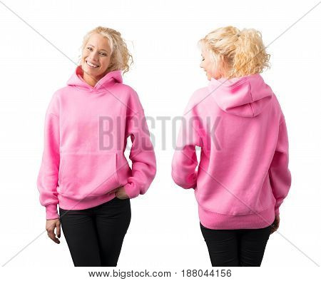 Woman wearing empty pink hoodie mockup for your own design