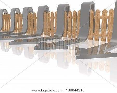 Grey arrows and fence on white reflective background 3D illustration.