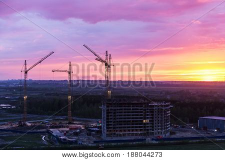 Construction site in the evening during a bright sunset