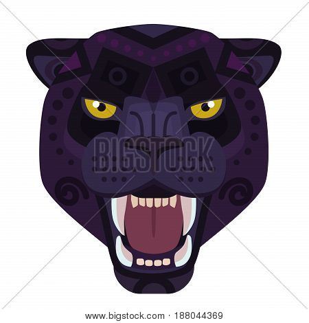 Angry black panther head Logo. Wild cat vector decorative Emblem