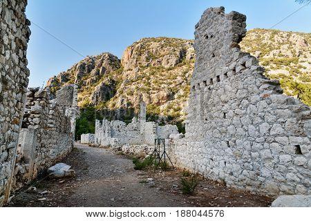 Avenue Of North Necropolis. Ruins Of Ancient City Olympos In Lycia. Turkey