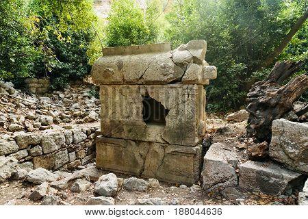 Sarcophagus Of Antimachos, North Necropolis. Ruins Of Ancient City Olympos In Lycia. Turkey
