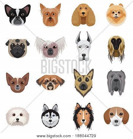 Dog heads logo set. Vector illustration emblem isolated