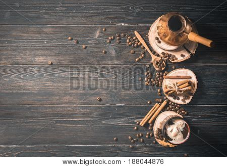 Top View Of Brewed Coffee In Cezve