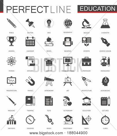 Black classic web Education icons set vector