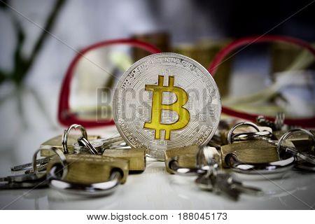 Silver Bitcoin Coin Padlocks Concept