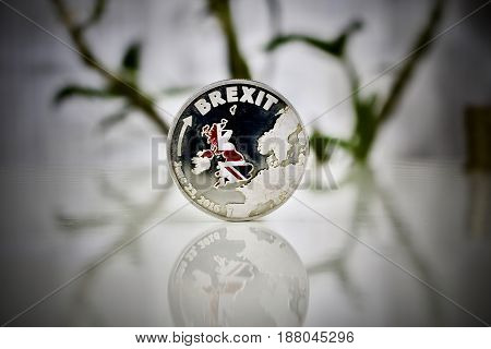 Silver Brexit Coin With A Map