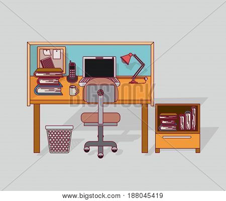 colorful background home office interior with filing cabinet with books vector illustration
