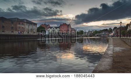 Embankment in Exeter. Dramatic sky in the evening. Sunset. Devon. England