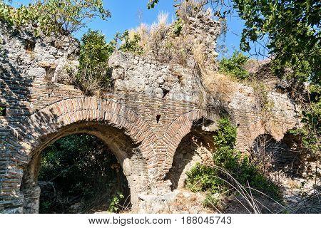 Bath Of Vespasianus. Ruins Of Ancient City Olympos In Lycia. Turkey