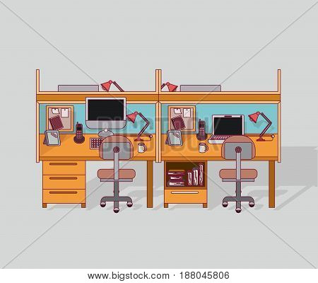 colorful background double work place office interior with filing cabinet with books vector illustration
