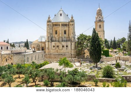The Dormition Abbey Catholic church Benedictine monastery view from the walls of the Old City of Jerusalem Israel