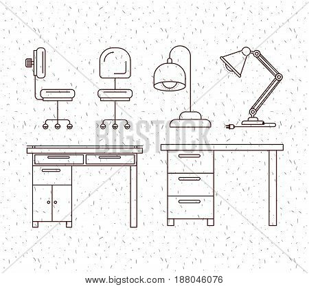 white background with sparkles and silhouette elements office desk vector illustration