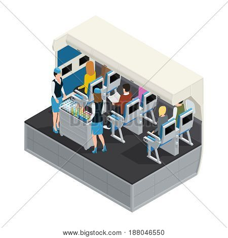 Colored airplane interior isometric composition with lunch on board flight attendants carry food to passengers vector illustration