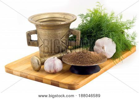 Composition Of Spices, Dry Dill, Fresh Dill, Garlic, Vintage Spice Grinder Isolated On White Backgro