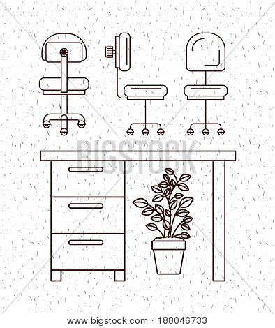white background with sparkles and silhouette elements office desk and plantpot vector illustration