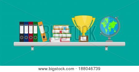 Office interior shelf with ring binders, books, globe, folders, cup. Vector illustration in flat style