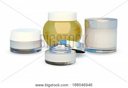 Set of cosmetic face cream. White background. 3D illustration