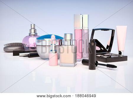 Makeup set on light background. Mascara lipstick pencil eye shadow perfume bottle comb concealer cream located on a light gray-blue background. 3D illustration