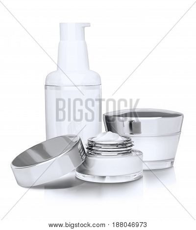 Three cosmetic cream isolated on white background. 3D illustration