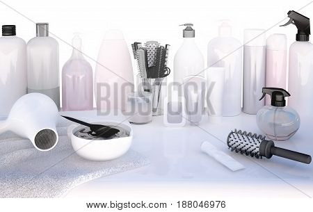 Hairdresser Accessories for coloring hair on a white table. 3D illustration
