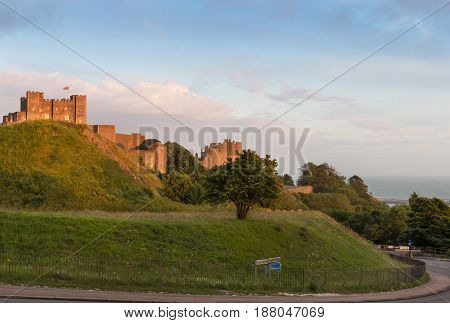 Dover Castle in the colorful sunset lights